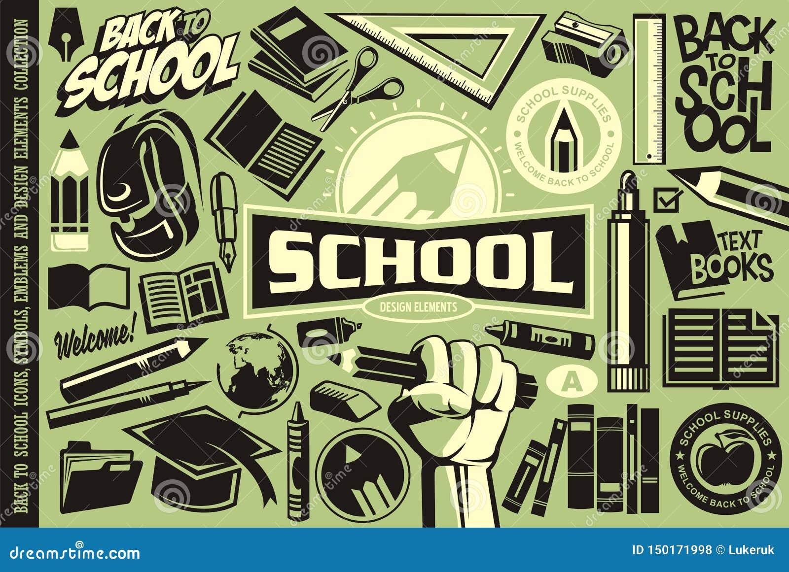 Tillbaka till skola ställ in av symboler, logoer, symboler, emblem och designbeståndsdelar
