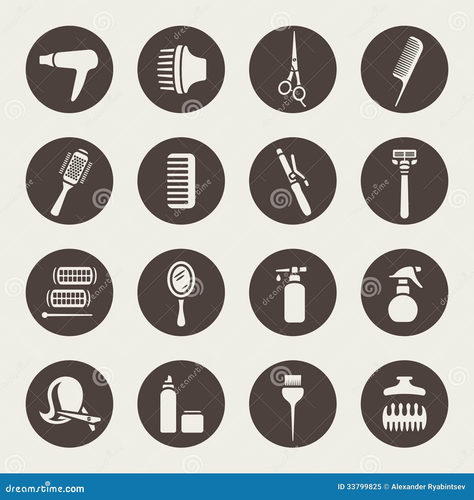 Tillbehör för symboler för hårsalong
