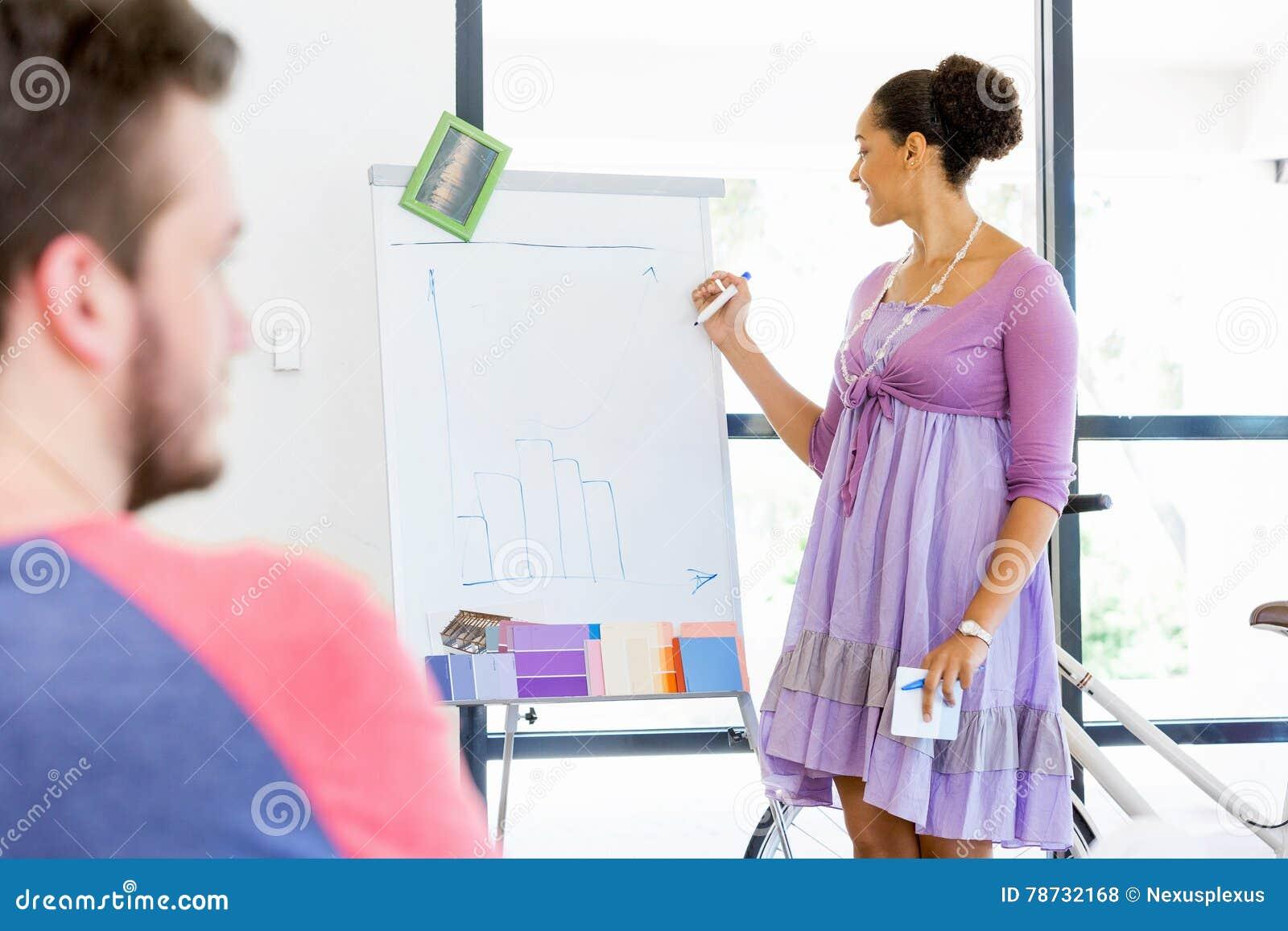 Tillfällig affärskvinna som ger en presentation i kontoret