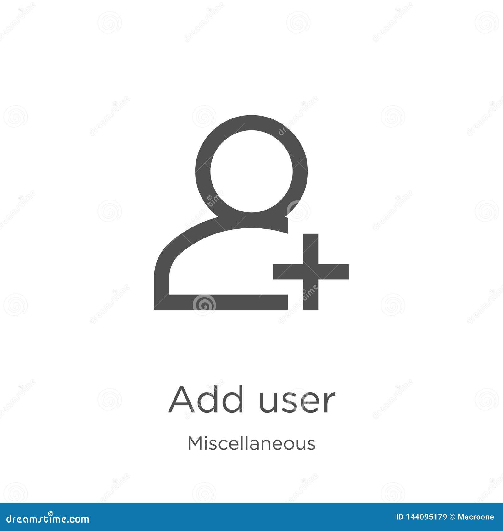 Tillfoga användaresymbolsvektorn från diverse samling Den tunna linjen tillfogar illustrationen för vektorn för användareöversikt