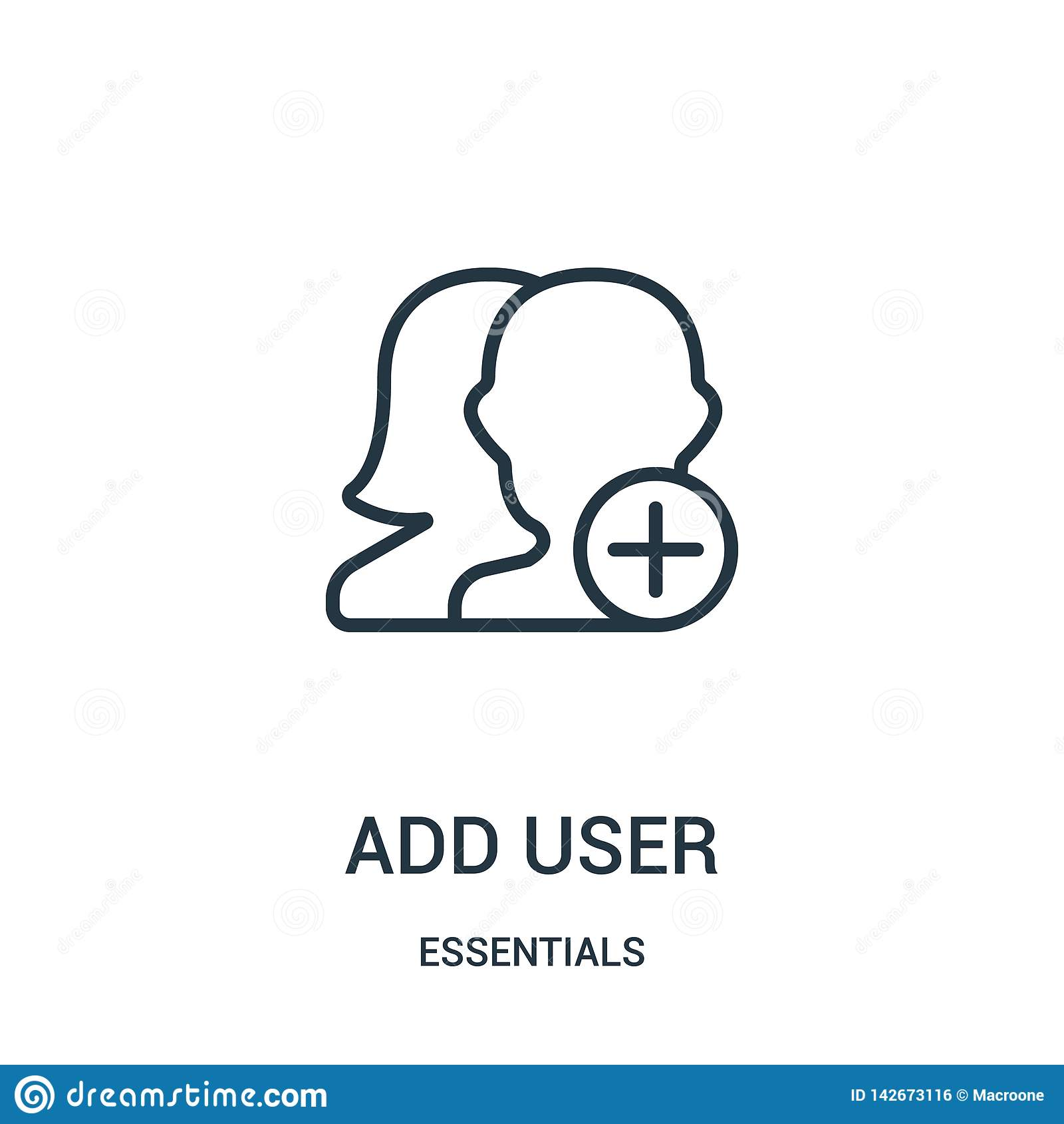 Tillfoga användaresymbolsvektorn från väsentlighetsamling Den tunna linjen tillfogar illustrationen för vektorn för användareöver
