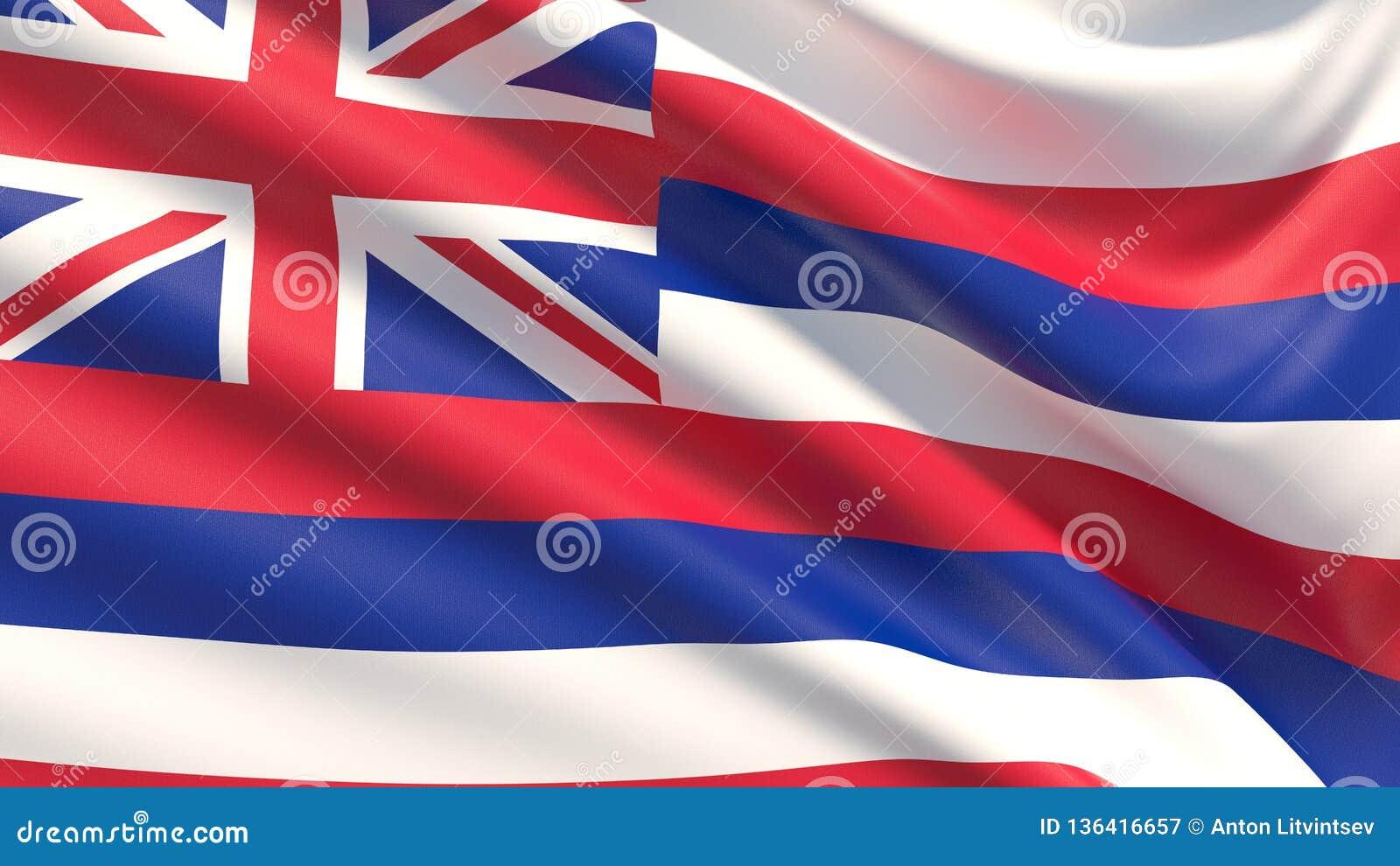 Tillstånd av den Hawaii flaggan flaggatillstånd USA