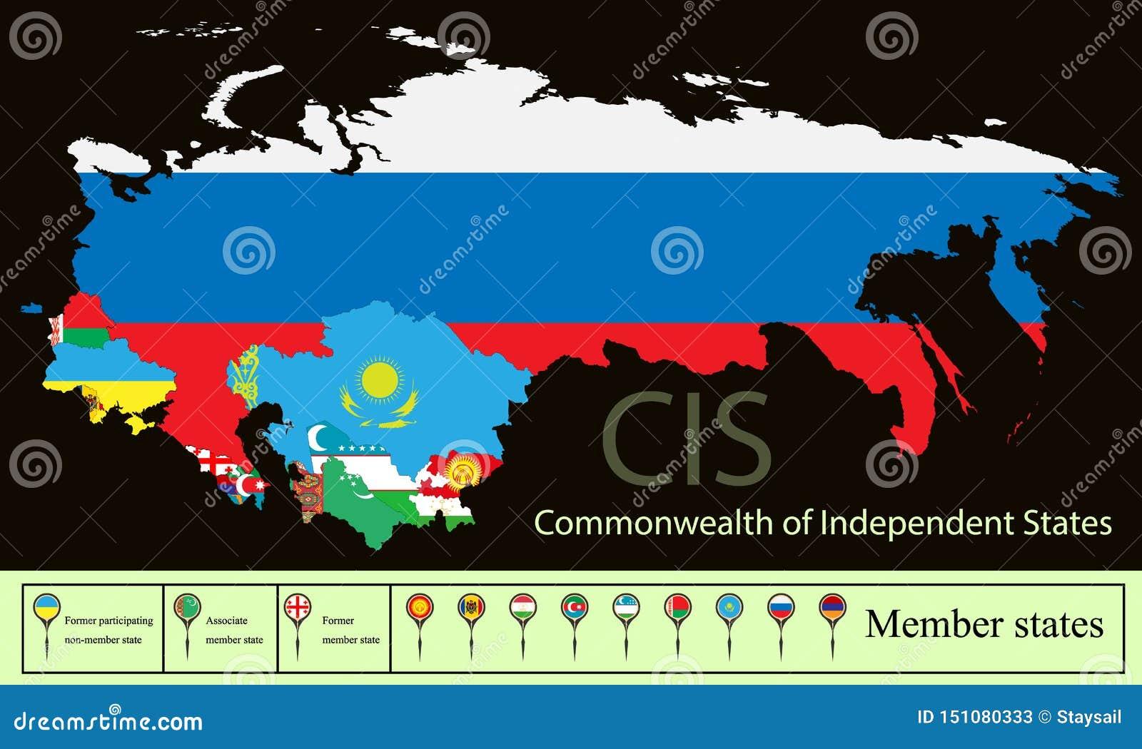 Tillstånd CIS Commonwealth för vektorkonturöversikter av oberoende stater med det ukrainska Krimet Fastställda idérika markörer m
