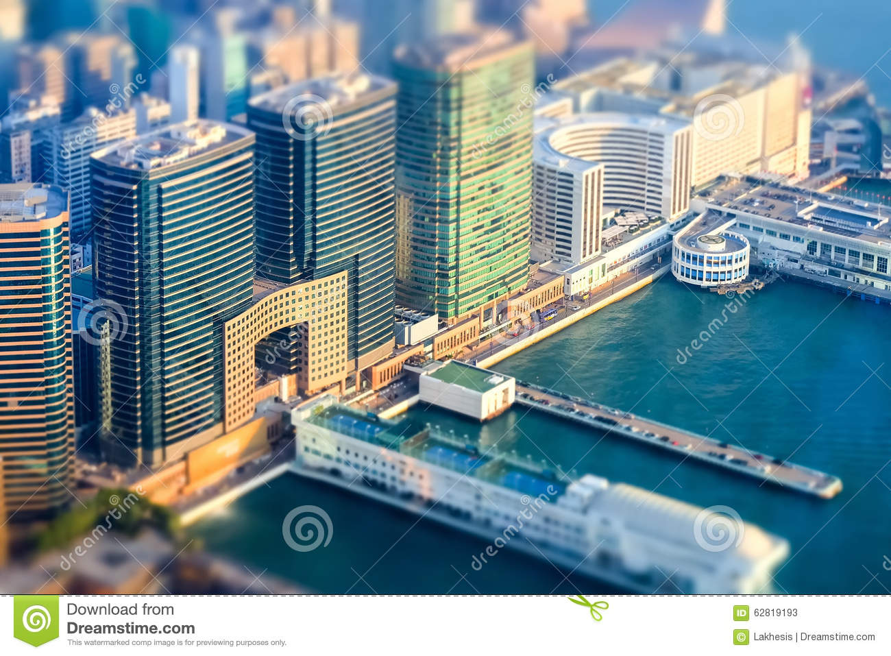 Tilt Shift Effect Aerial View Of Hong Kong Island With Port