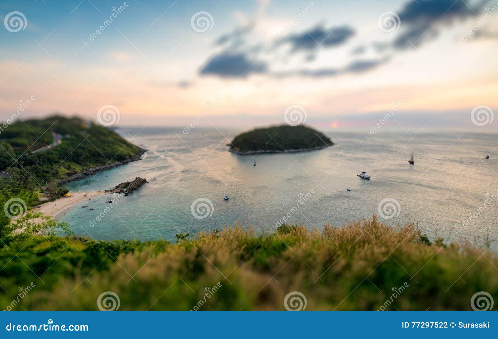 Tilt shift of tropical ocean landscape with a little island