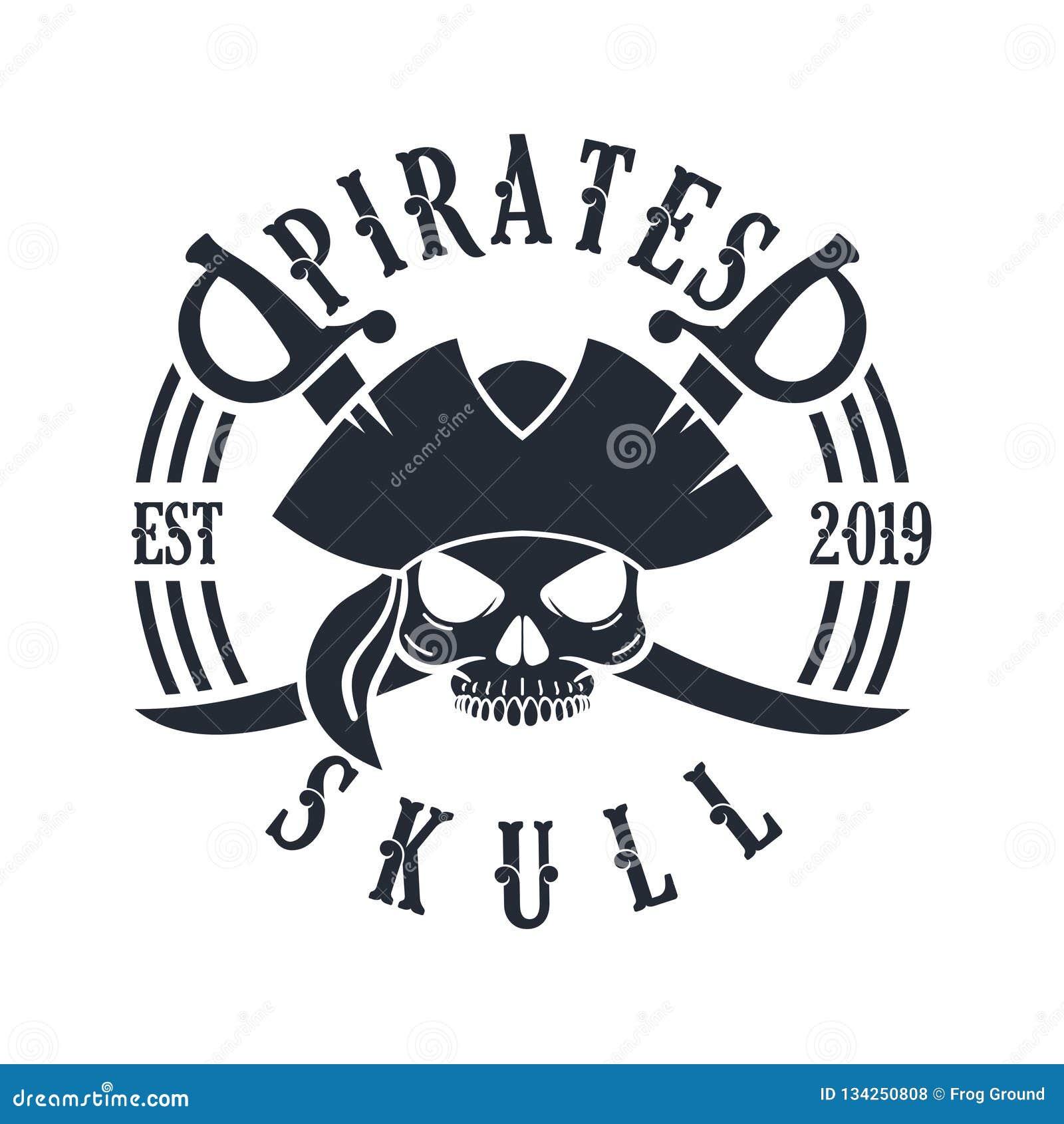 Timón Logo Design Vector Illustration, emblema del cráneo y de la nave del pirata en estilo monocromático del vintage aislado en