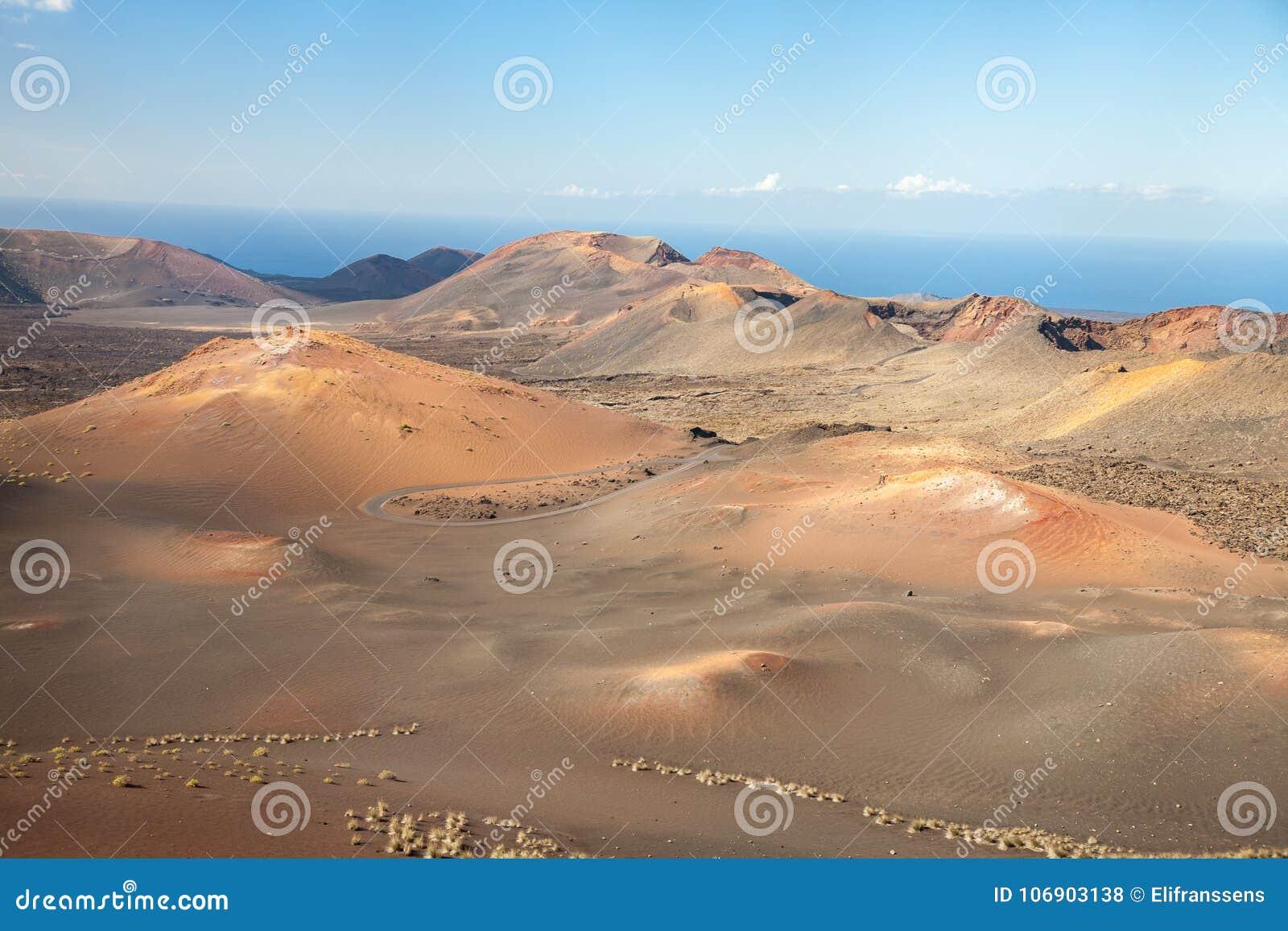 Timanfaya parka narodowego krajobraz