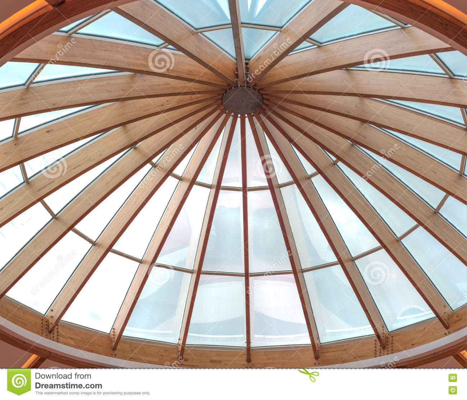 Timber Beams Of A Roof Forming A Circular Skylight Stock