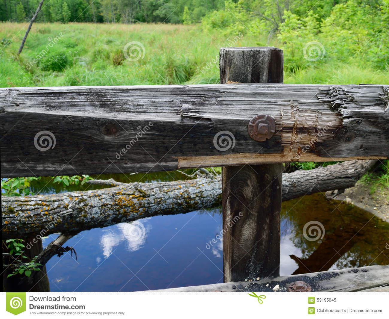 Timber Bridge Guardrail With Stream In Background Stock Image