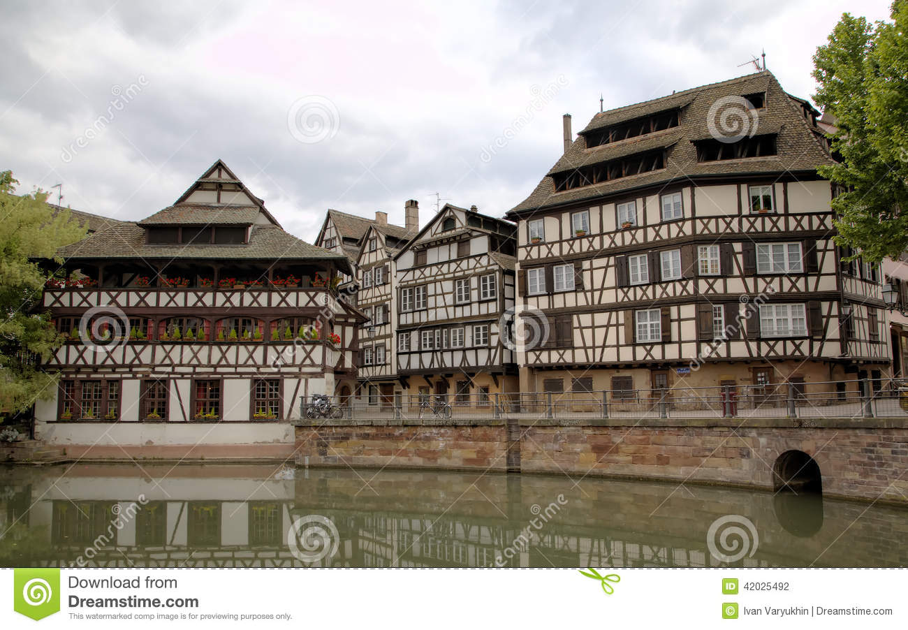 timber framing houses of district la petite france strasbourg france stock photo image 42025492. Black Bedroom Furniture Sets. Home Design Ideas