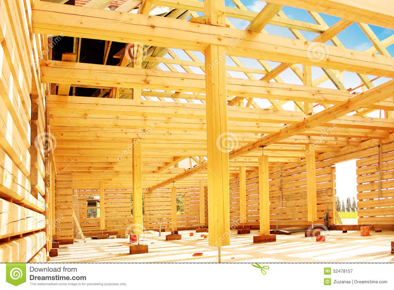 Timber house stock photo image 52478157 for Process of building a house