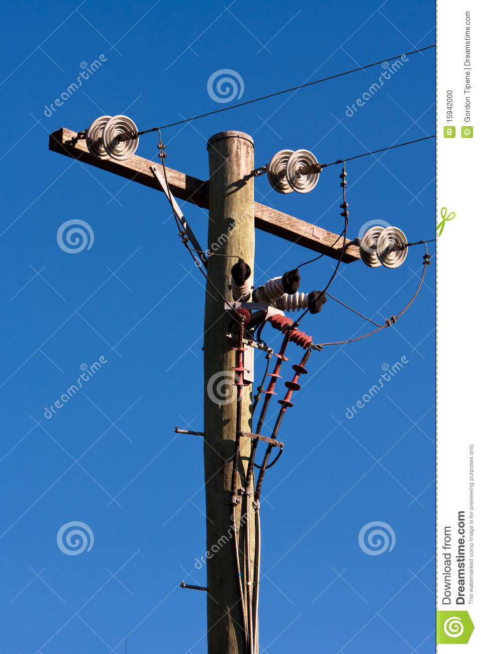 Electric Poles Power Lines : Timber power pole and lines stock photo image