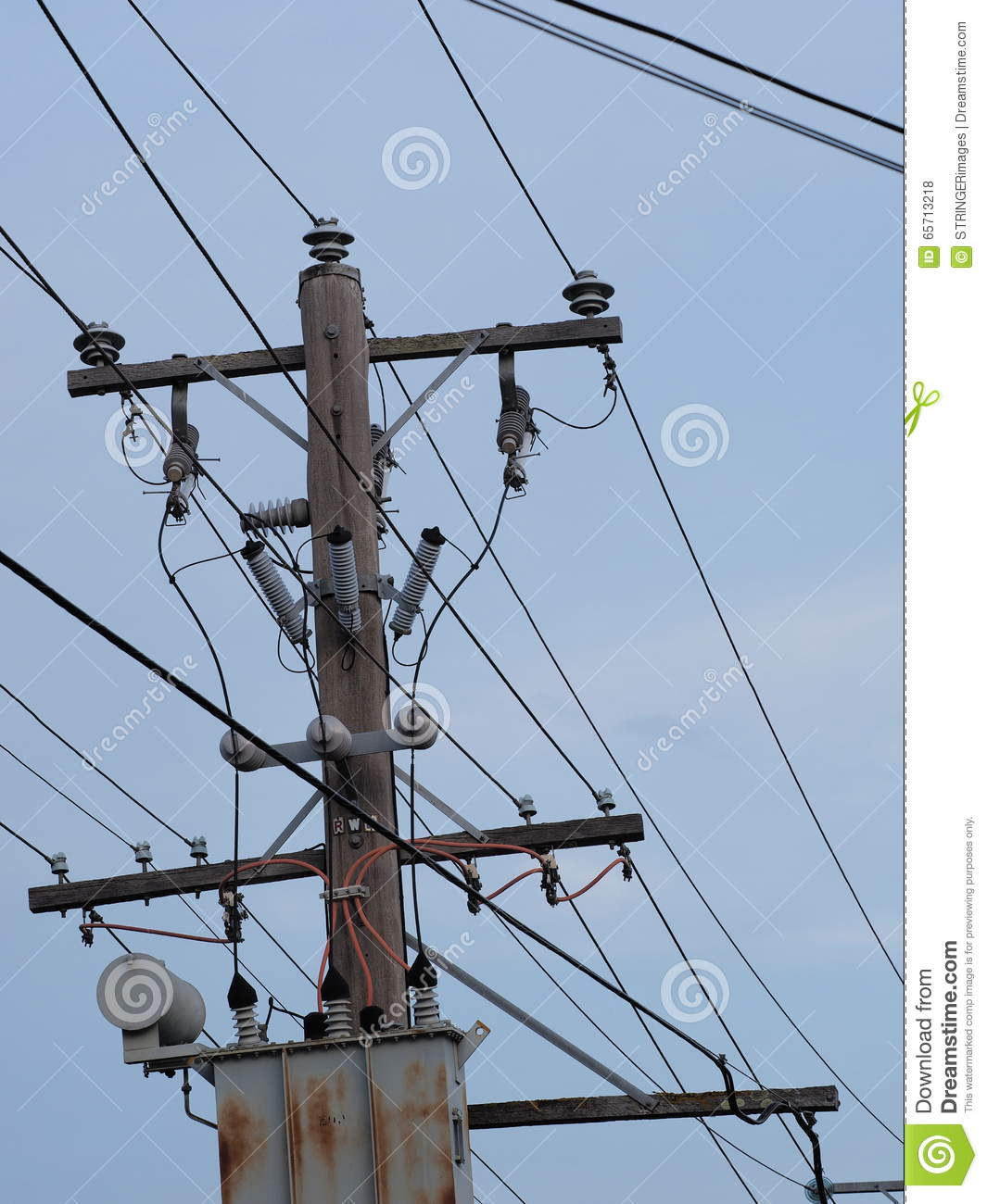 Timber Power Pole And Transformer Stock Photo Image