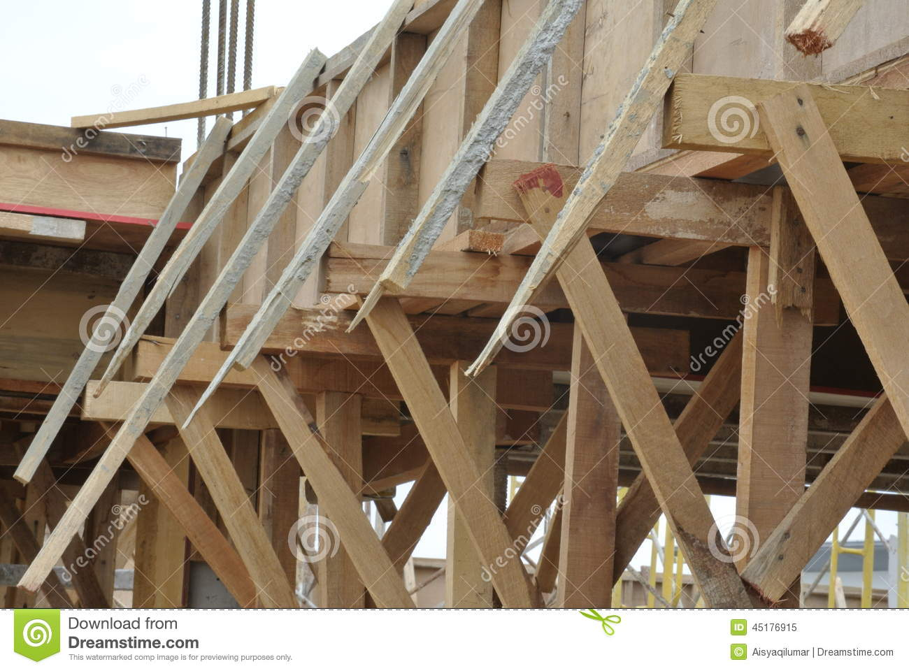 Timber support for beam formwork stock photo