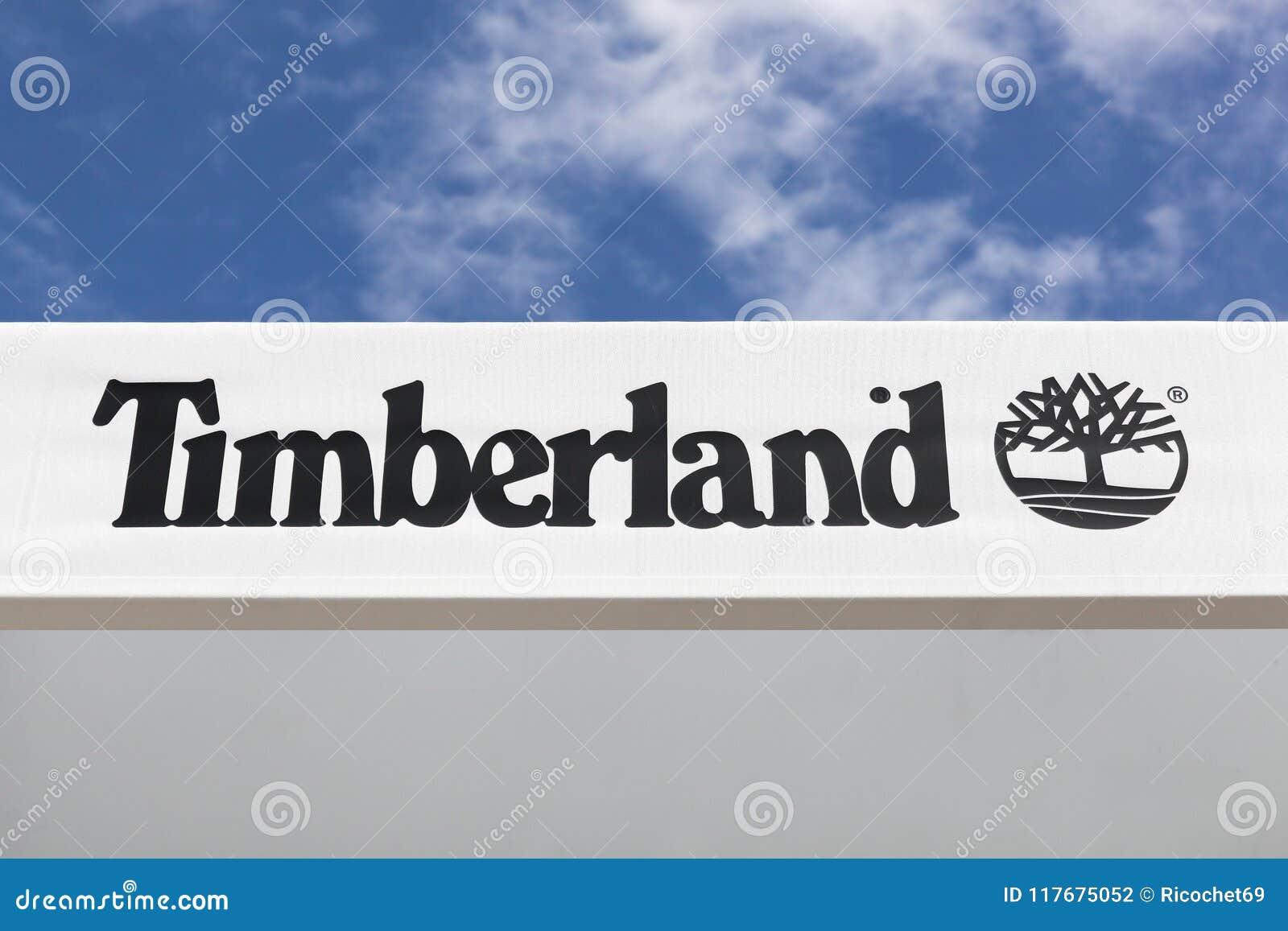 Timberland logo on a facade