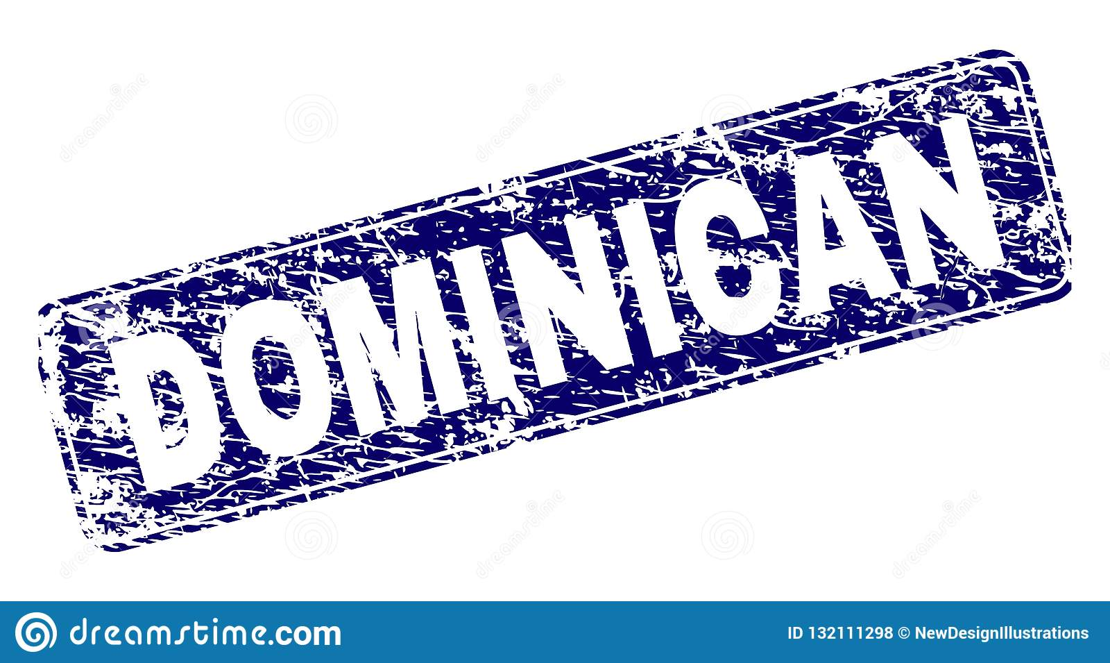 Timbre arrondi de rectangle encadré par DOMINICAIN grunge