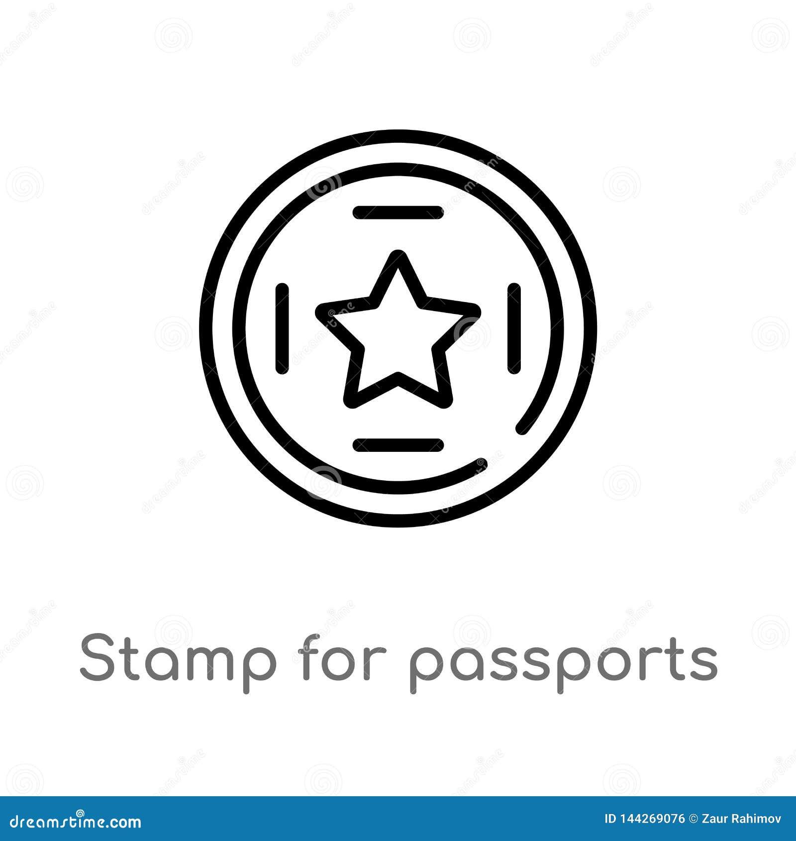 Timbre d ensemble pour l ic?ne de vecteur de passeports ligne simple noire d isolement illustration d ?l?ment de concept de termi