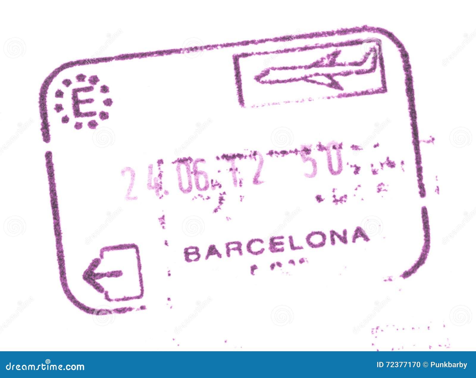 Timbre d entrée des douanes de passeport dans l aéroport de Barcelone, Espagne