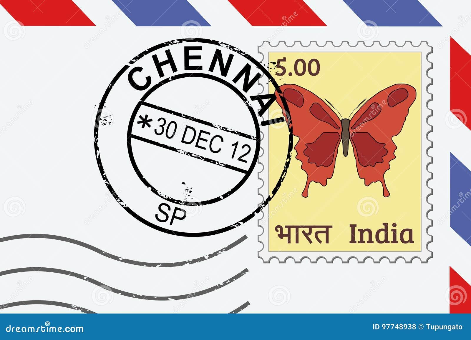 Timbre de courrier de Chennai