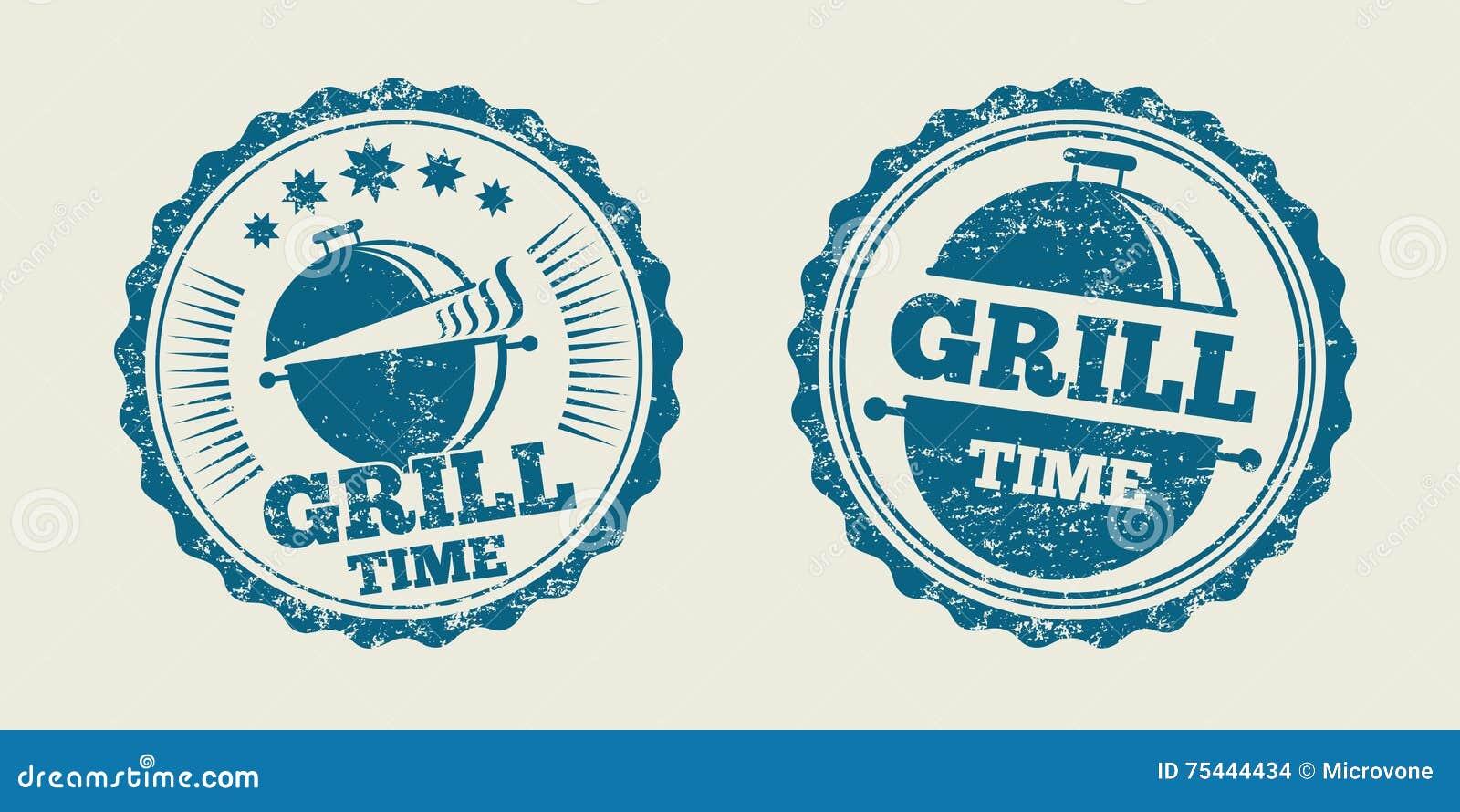 Timbre de joint de menu de bifteck de vintage de barbecue de gril de BBQ Illustration de vecteur