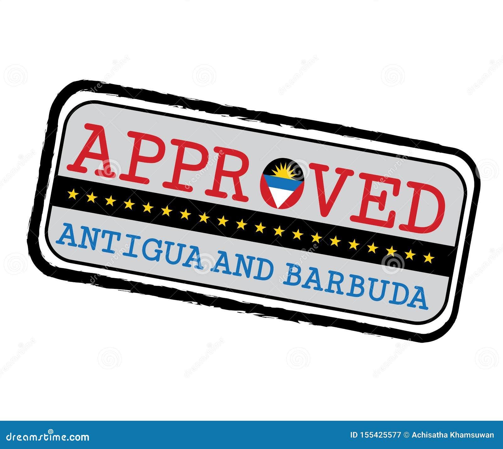 Timbre de vecteur de logo approuvé avec le drapeau de l Antigua sous forme d O et texte Antigua-et-Barbuda