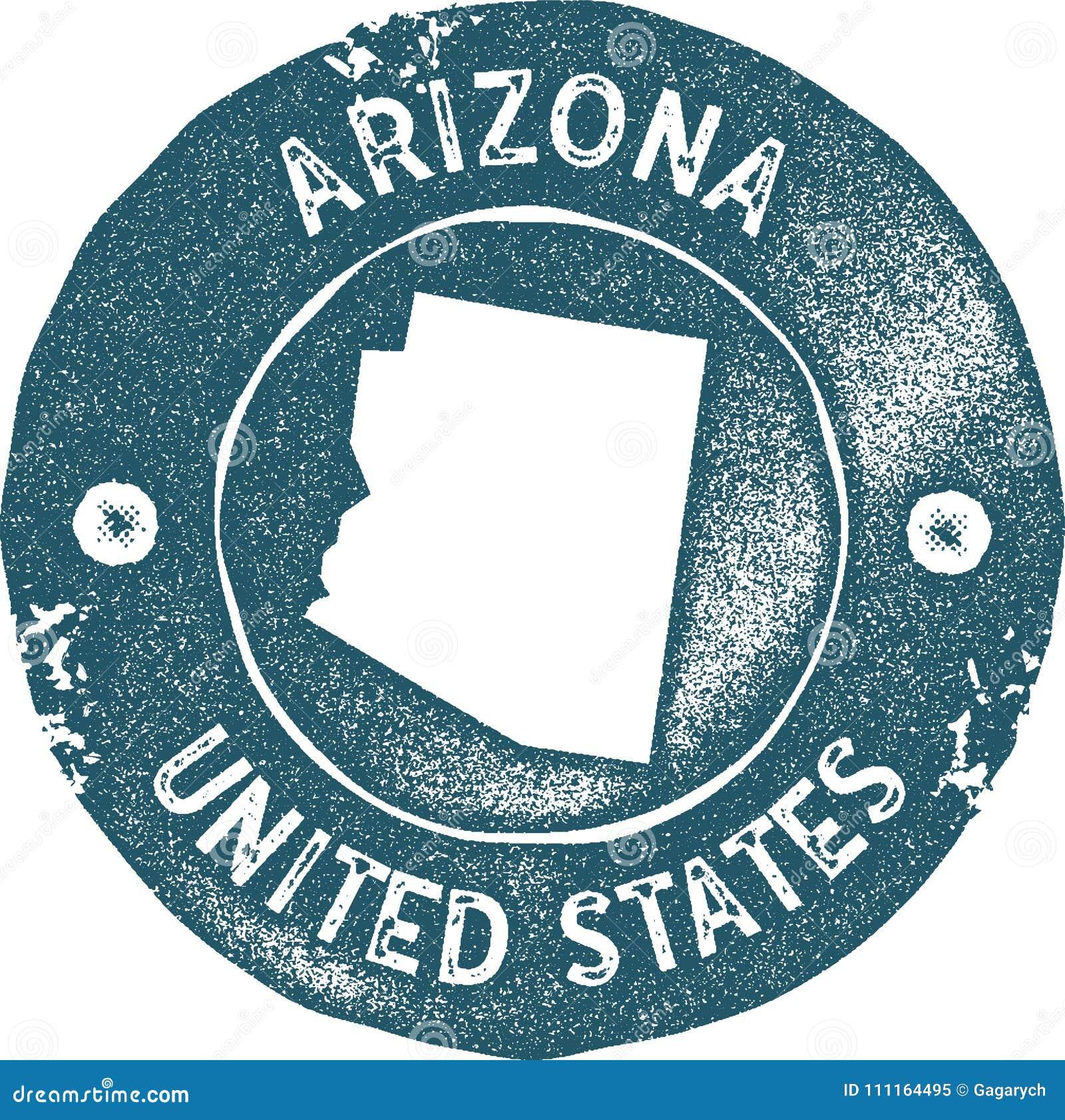 Timbre de vintage de carte de l Arizona