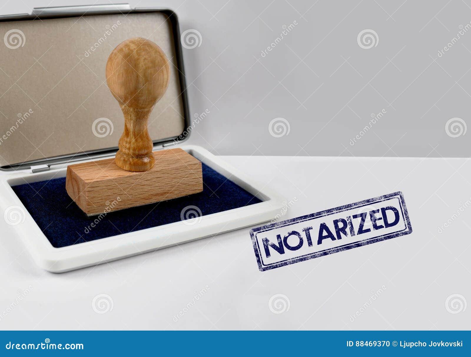 Timbre en bois fait certifier devant notaire illustration stock