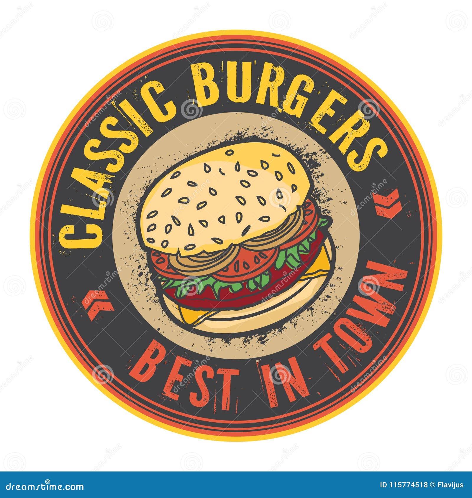 Timbre ou label avec le grand hamburger