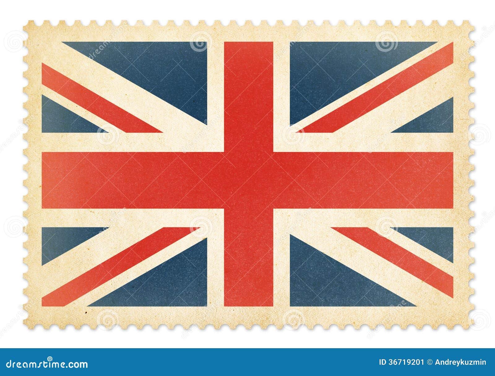 Timbre poste britannique avec le drapeau de la grande - Drapeau rouge avec drapeau anglais ...
