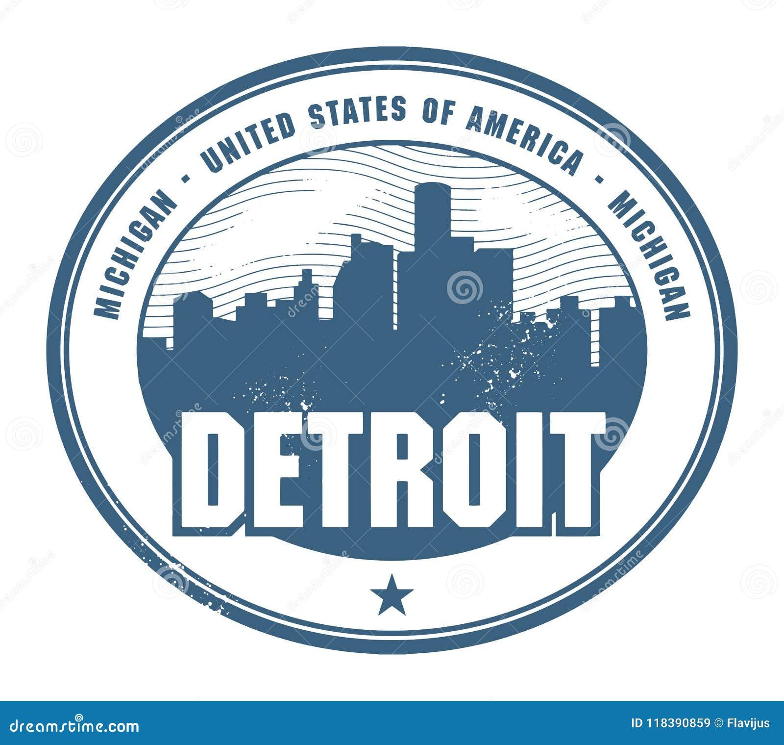 Timbro di gomma di lerciume con il nome del Michigan, Detroit
