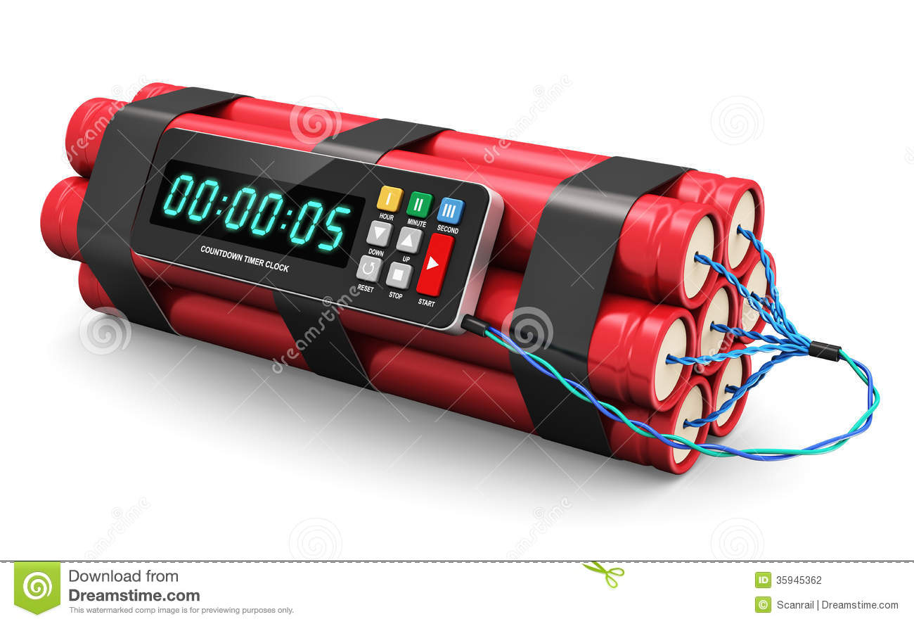 TNT time bomb explosive with digital countdown timer clock isolated on ...