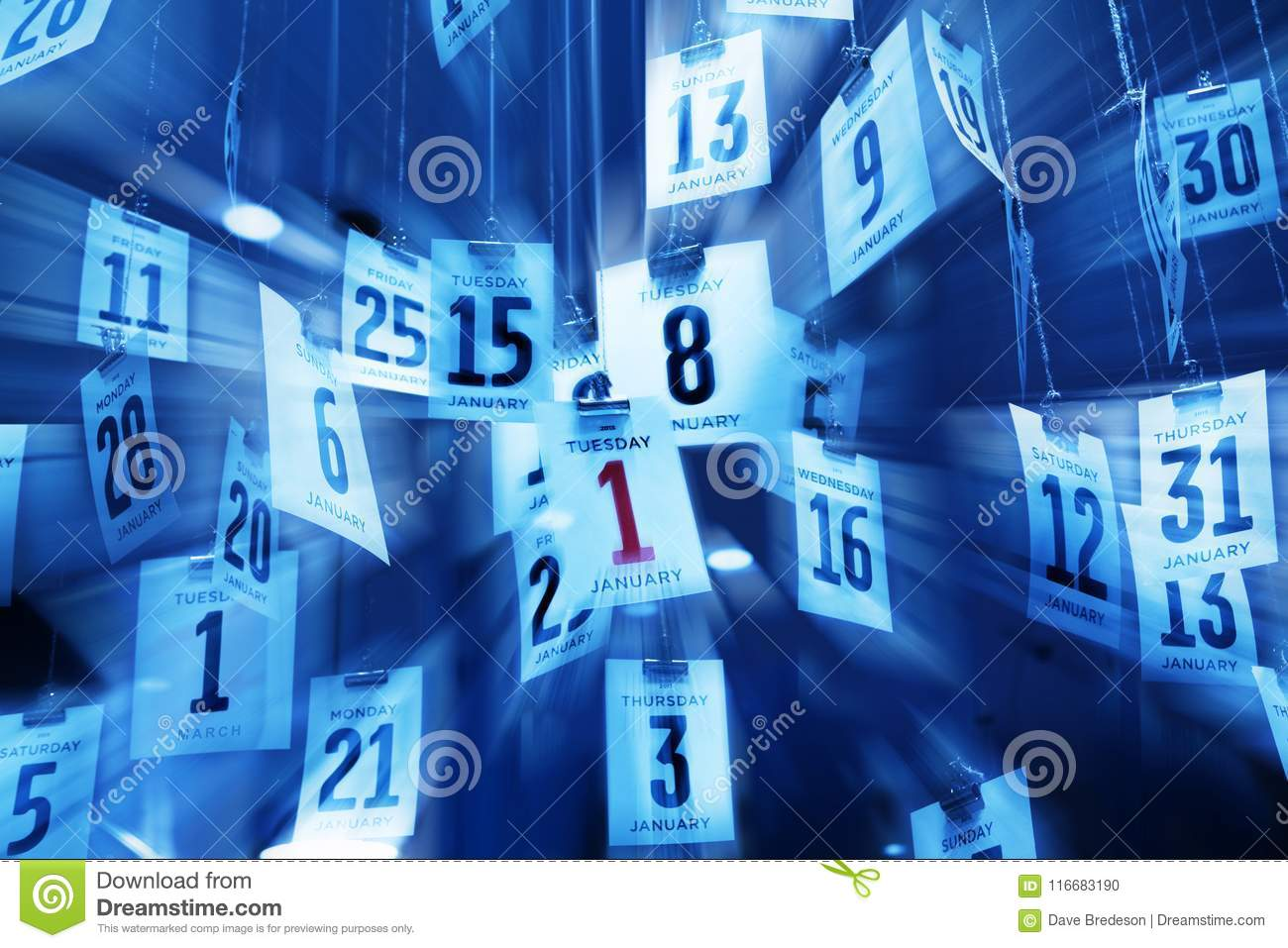 Time Calendar Background Abstract New Years Day