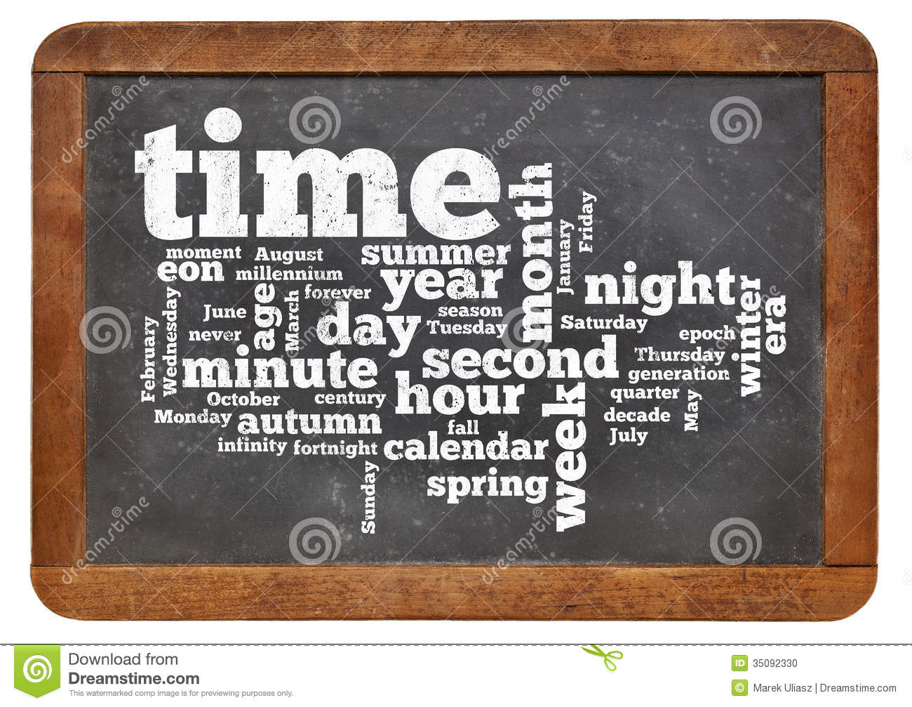 Time And Calendar Word Cloud Stock Photo - Image: 35092330