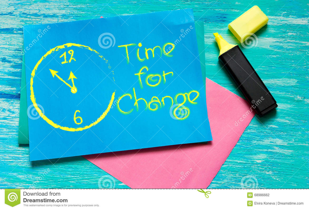 Time For Change White Painted Clock Inspirational Quotes Stock Photo