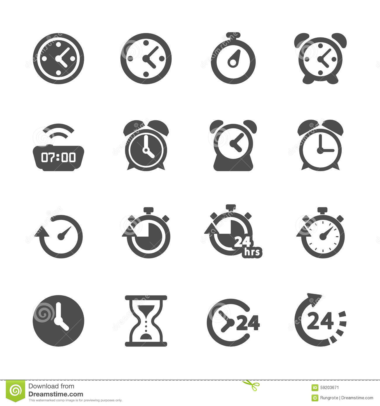 Time and clock icon set, vector eps10