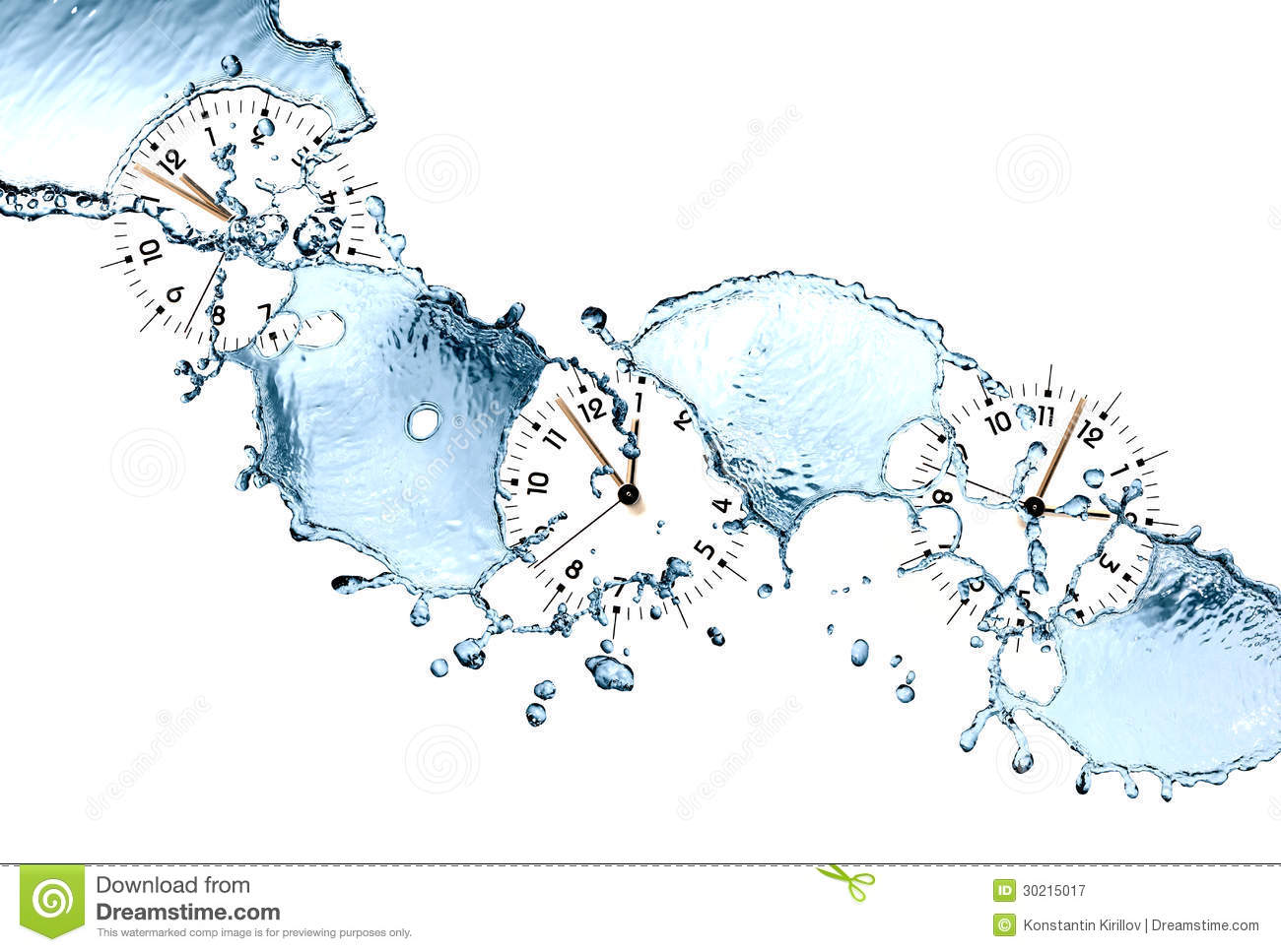 Time concept. Clock faces and abstract flowing water on white ...