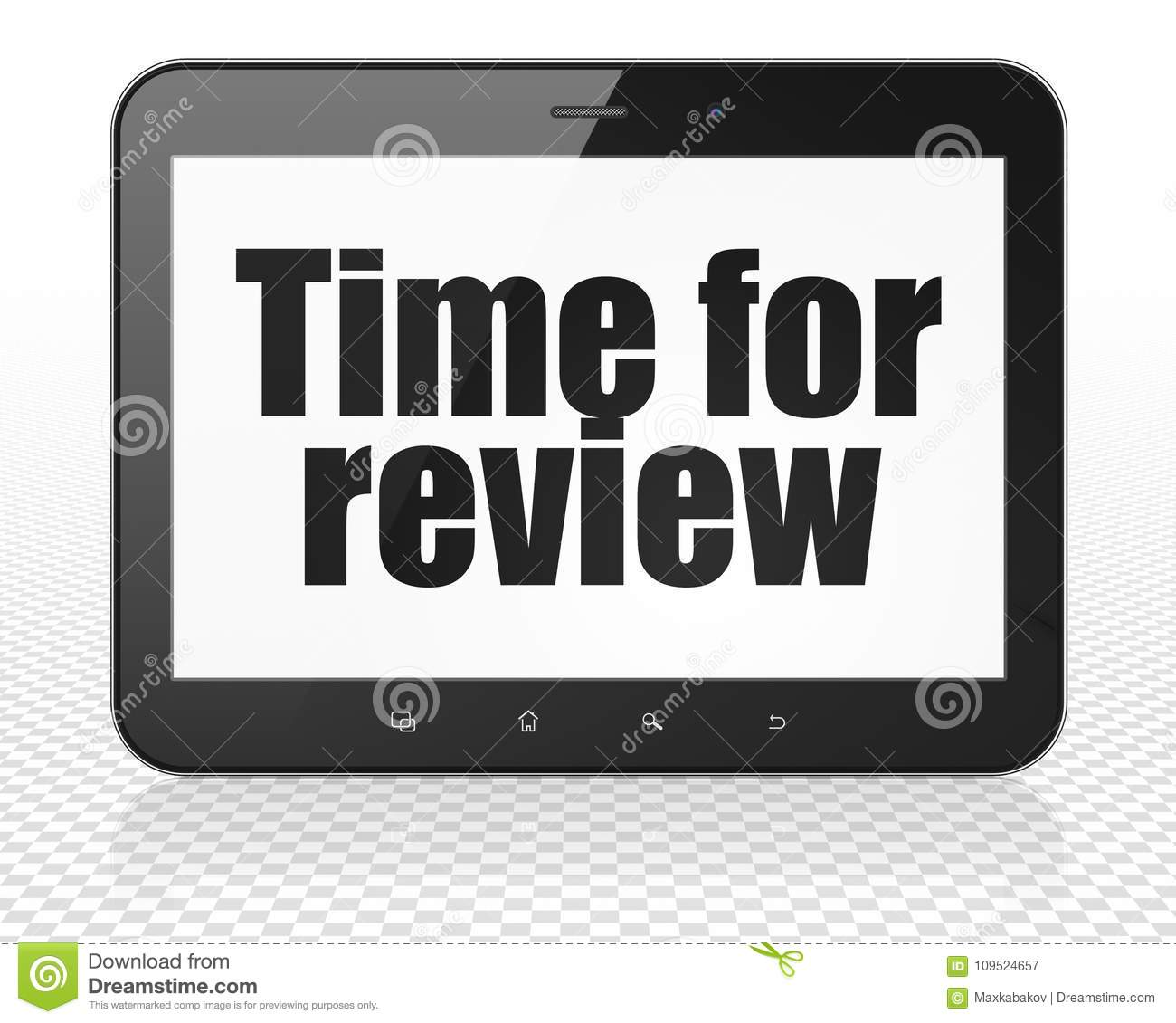 Time Concept: Tablet Pc Computer With Time For Review On