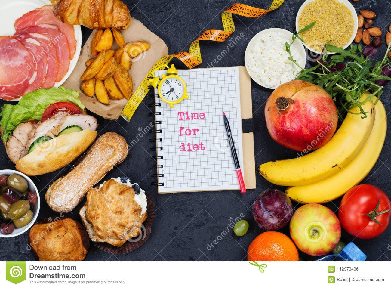 Time for diet. 5:2 fasting diet concept