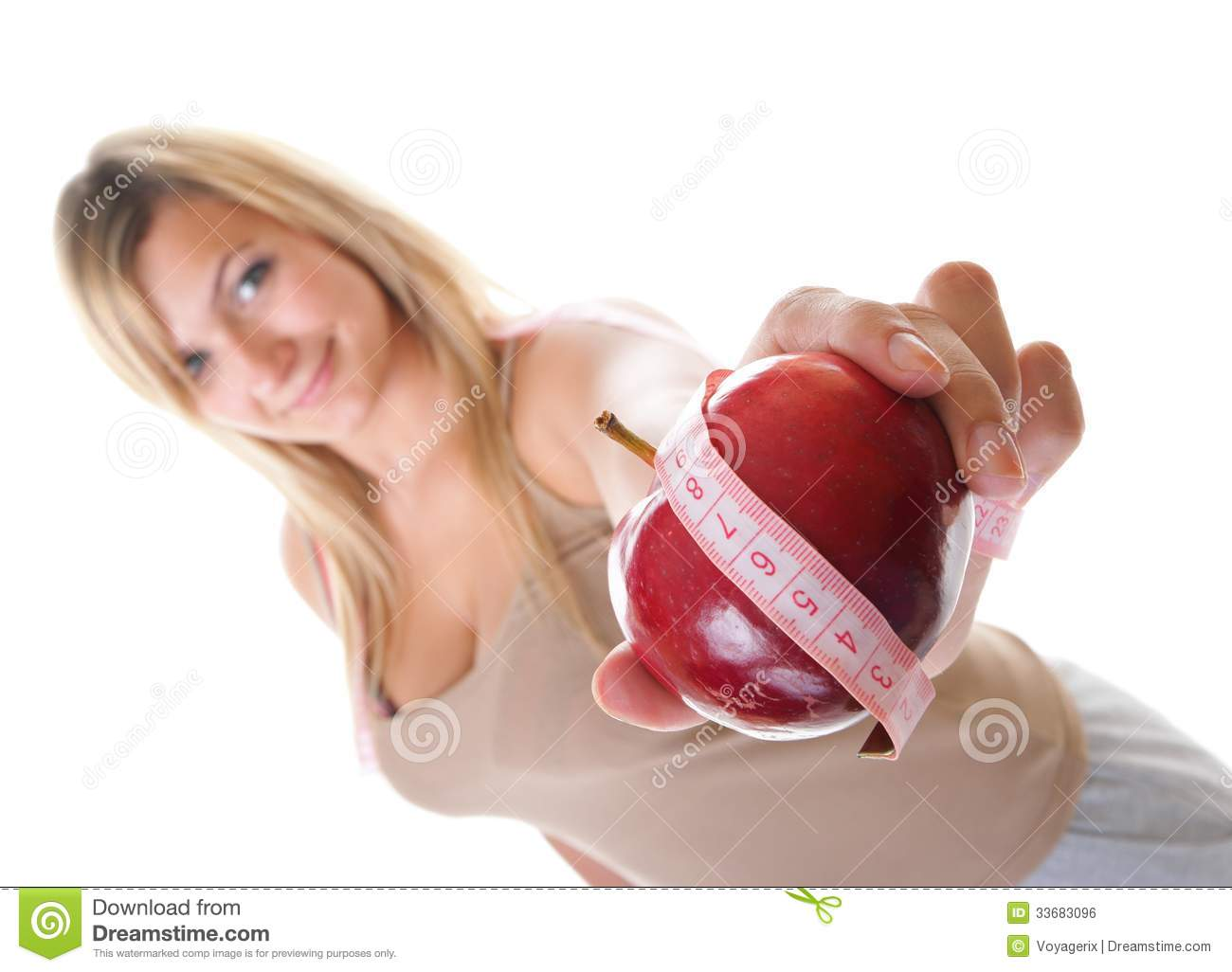 Time For Diet Slimming. Woman With Apple Stock Photo ...