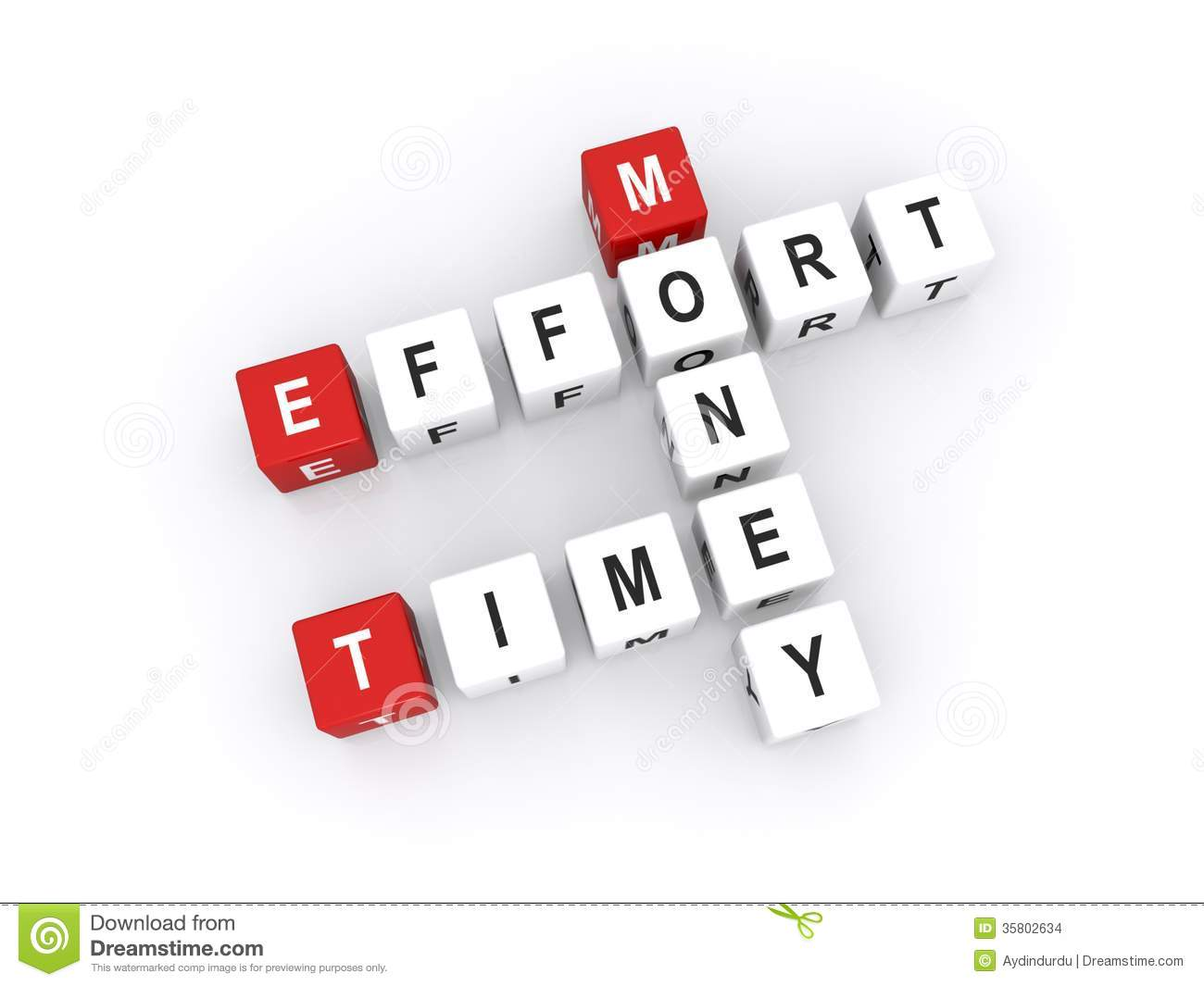 Time effort and money stock photo image of three for Time for business