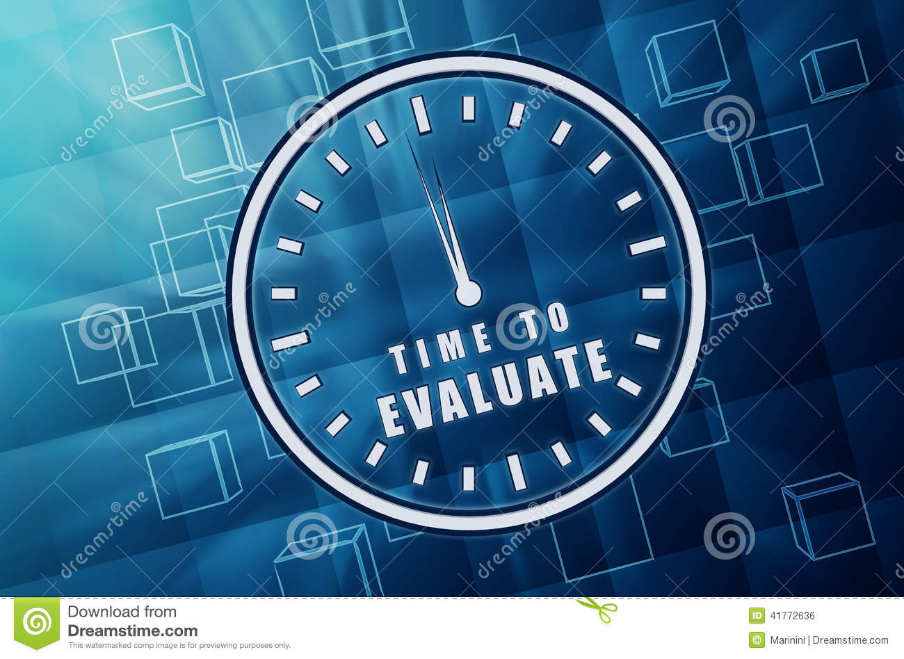 Time for evaluate in clock symbol in blue glass cubes for Time for business