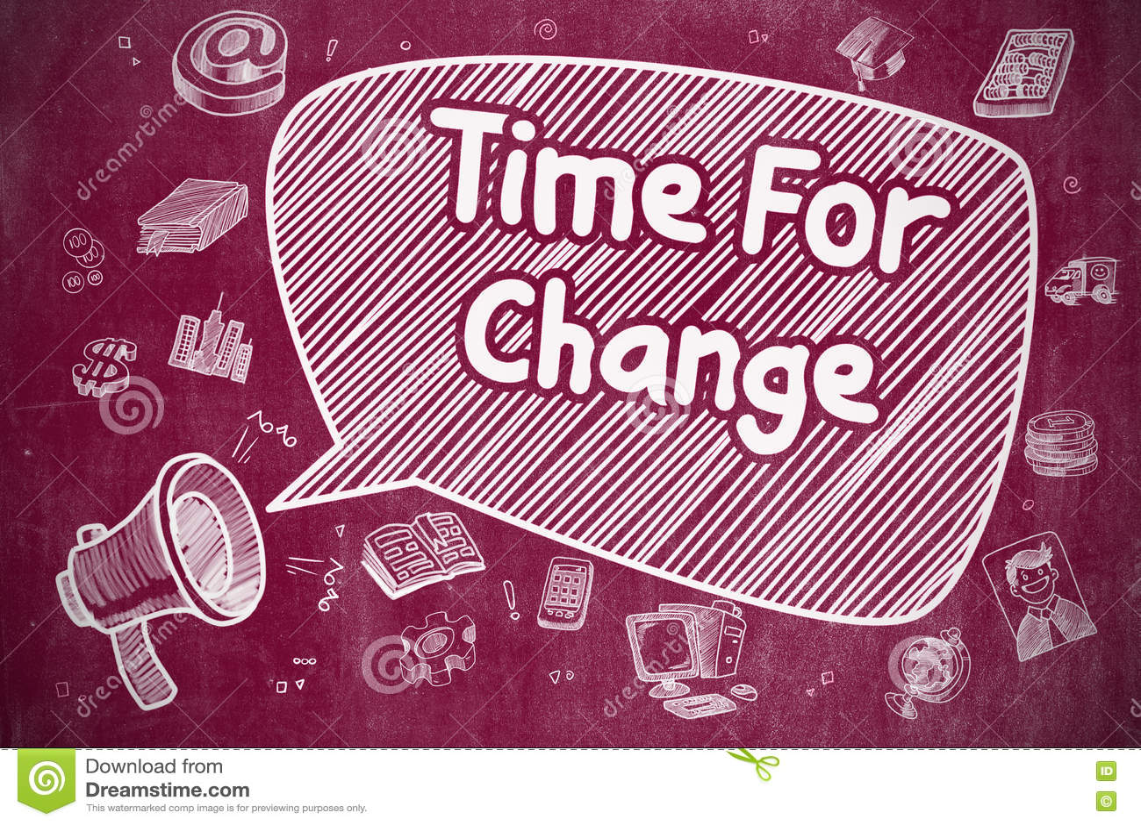 Time för ändring - tecknad filmillustration på den röda svart tavlan