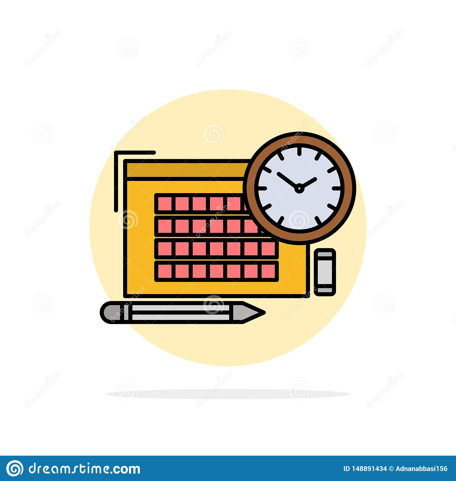 Time, File, Pen, Focus Abstract Circle Background Flat color Icon