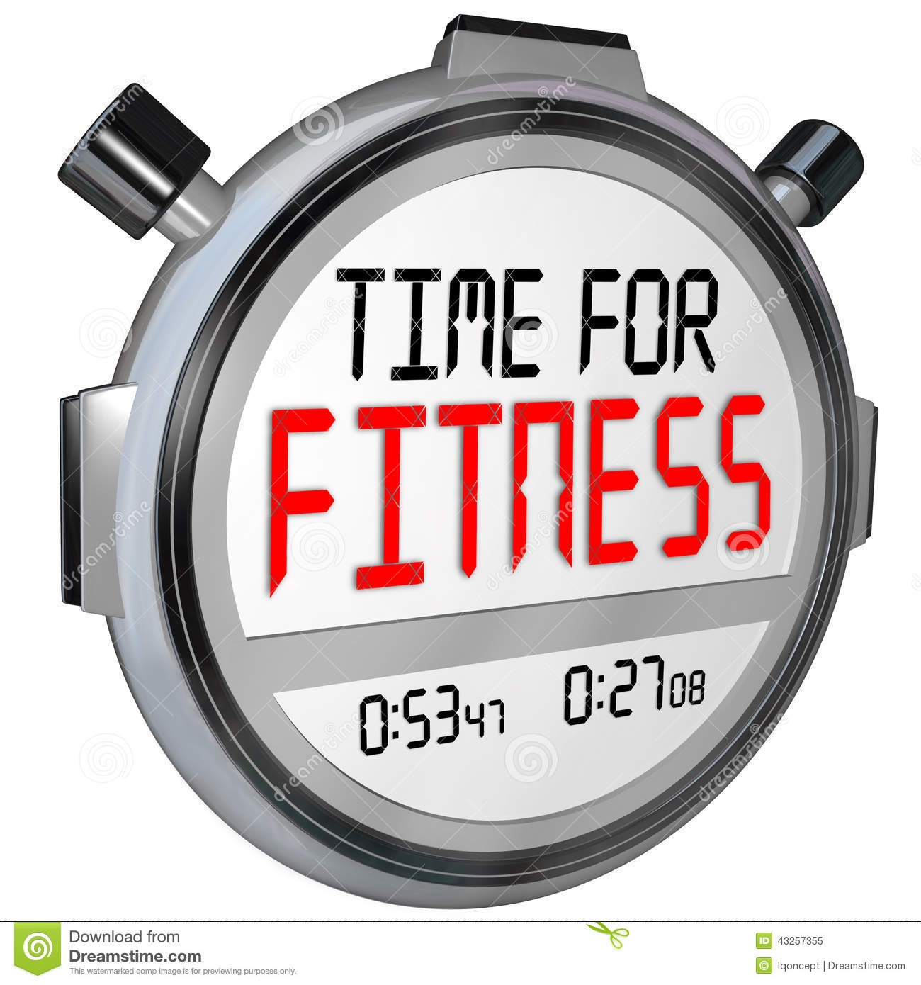 Time for Fitness words in digital letters on a timer or stopwatch for ...