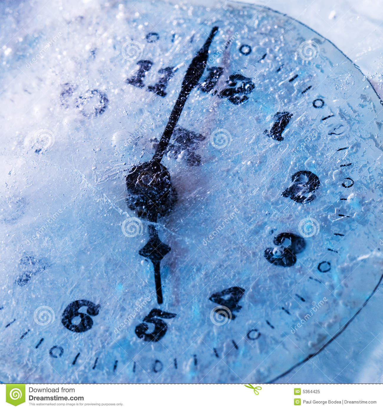 concept image with a clock frozen just two minutes before 5.