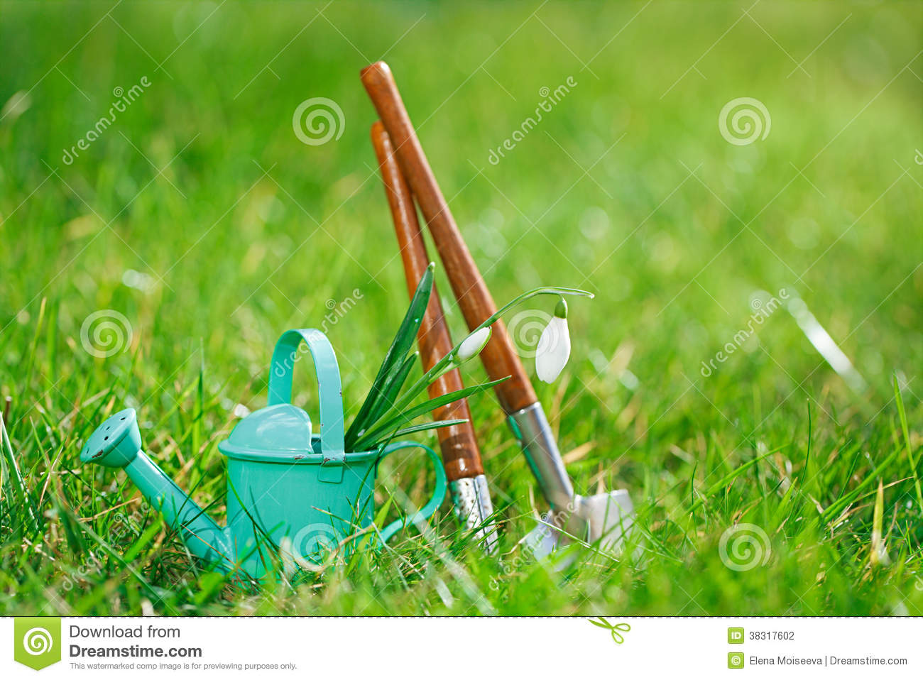 Time For Garden Now…. Decorative Small Gardening Tools Stock Photo ...