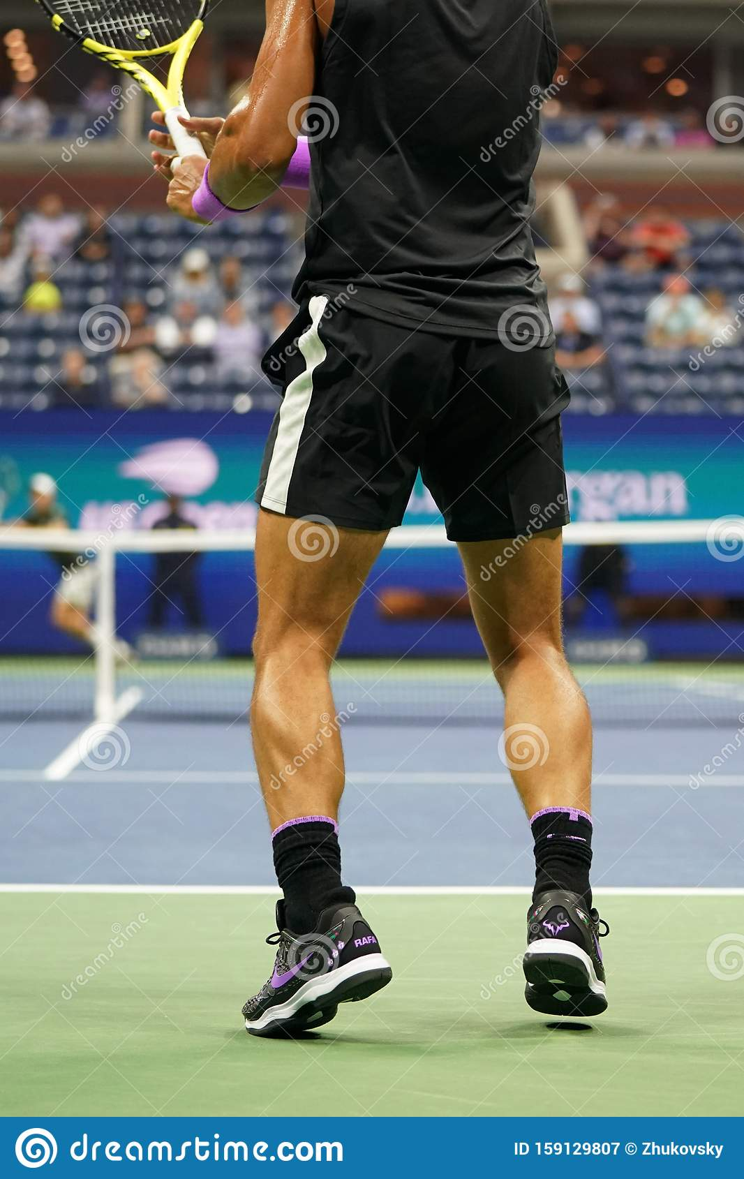 18 Time Grand Slam Champion Rafael Nadal Of Spain Wears Custom Nike Tennis Shoes During His 2019 Us Open First Round Match Editorial Photography Image Of Custom Grand 159129807