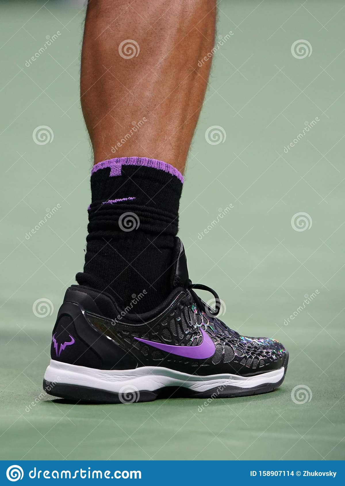 18 Time Grand Slam Champion Rafael Nadal Of Spain Wears Custom Nike Tennis Shoes During The 2019 Us Open First Round Match Editorial Stock Image Image Of King Competition 158907114