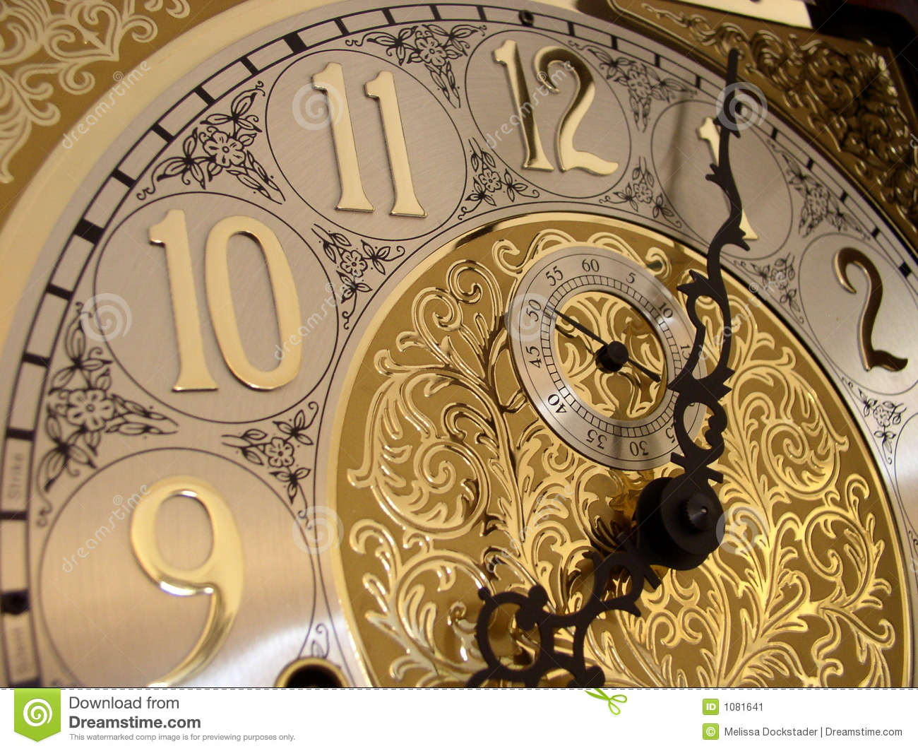 Time On A Grandfather Clock Stock Image Image 1081641