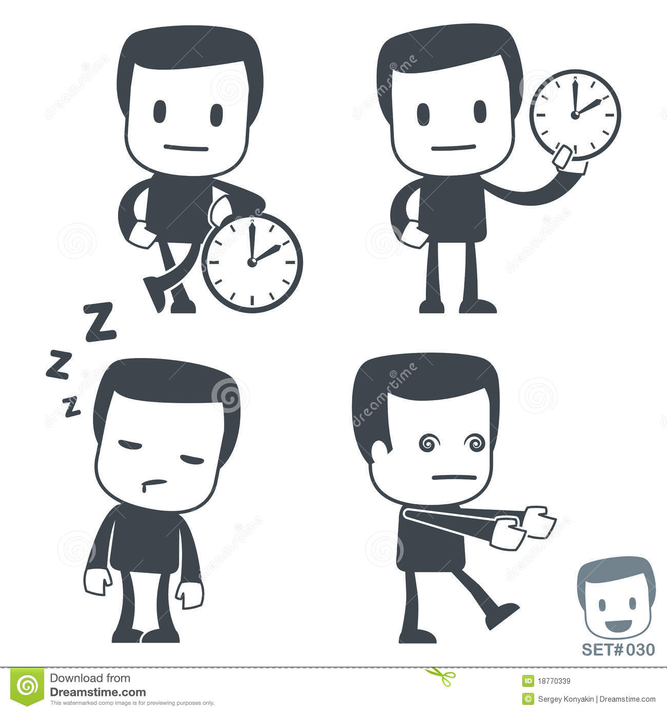 Cute Character Design Illustrator : Time icon man set royalty free stock images image